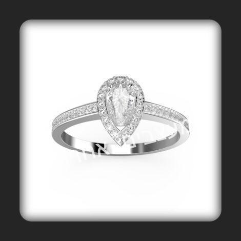טבעת אירוסין עשויה זהב ומשובצת יהלומים טבעיים דגם טיפה