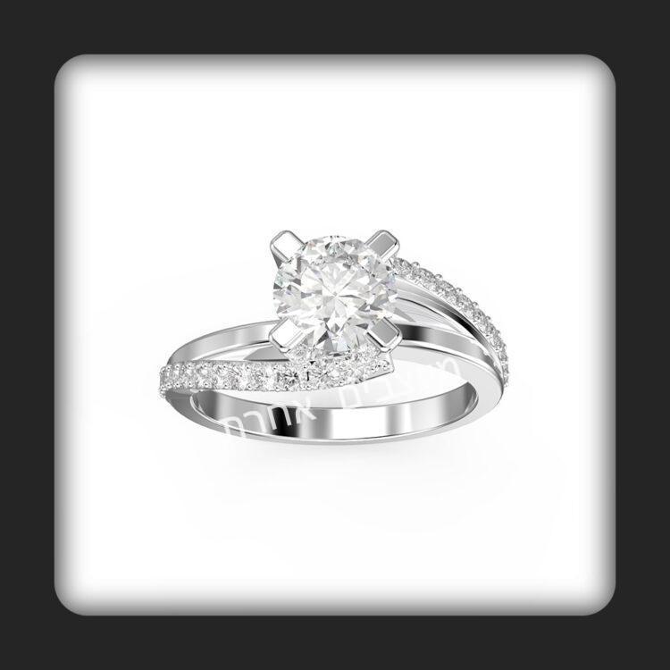 טבעת אירוסין בזהב ויהלומים דגם ליאב