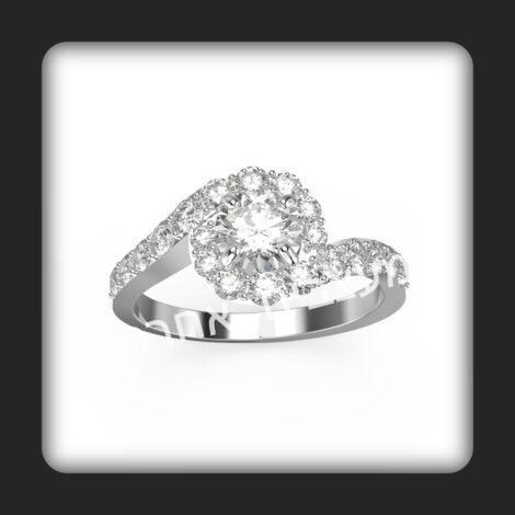 טבעת אירוסין בזהב משובצת יהלומים טבעיים דגם מור