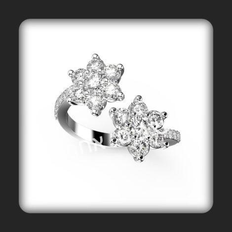 טבעת זהב ויהלומים דגם דאבל פלאוור