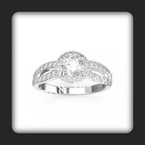 טבעת אירסין בזהב לבן משובצת יהלומים טבעיים דגם שי